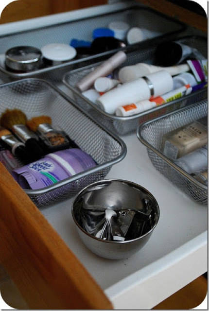 Use velcro and office trays to organize your drawers