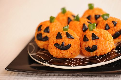 Carrot Rice Ball Mini Jack O'Lanterns
