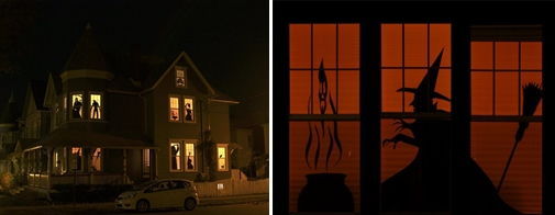 3 haunted house silhouettes - Homemade Halloween House Decorations