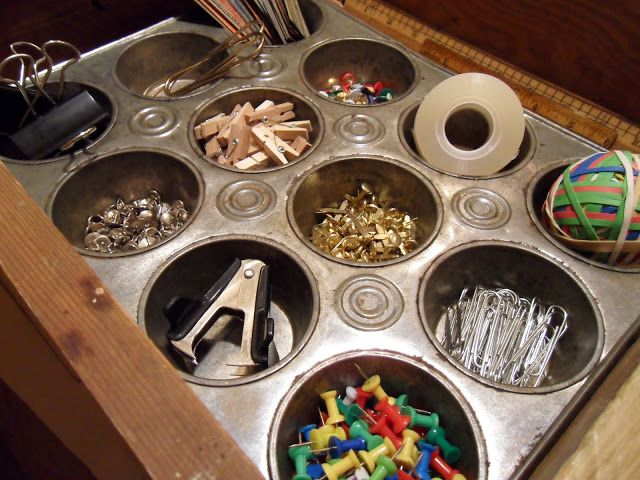 Use Vintage Muffin Tin to Organize Office Supplies