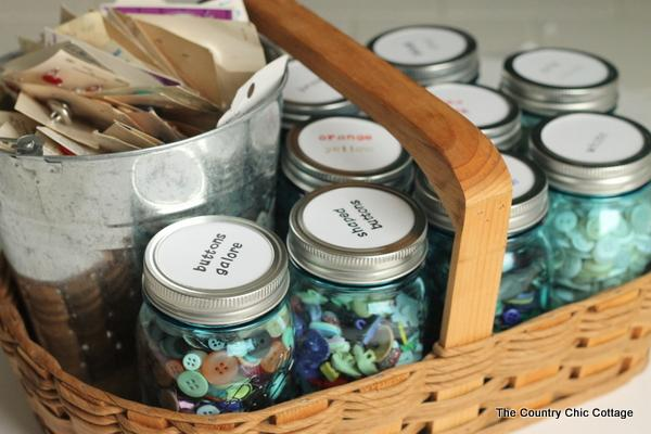 Organizing Buttons with Mason Jars