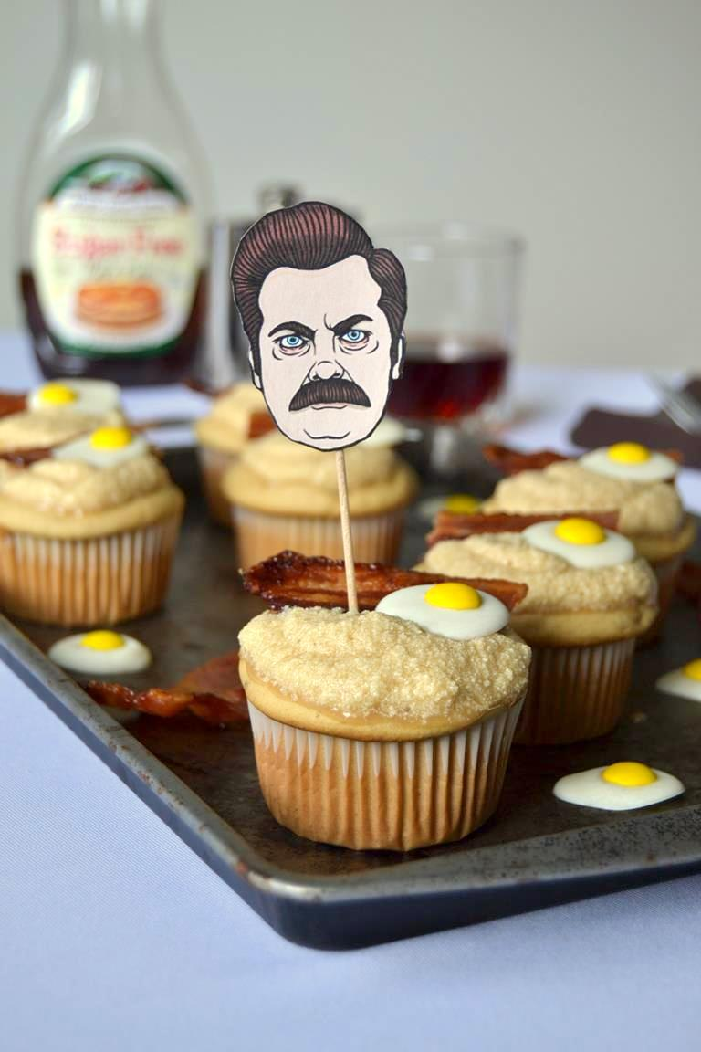 Ron Swanson Inspired Maple Breakfast Cupcakes