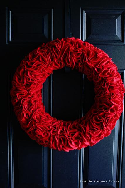 Red Felt Ruffle Wreath