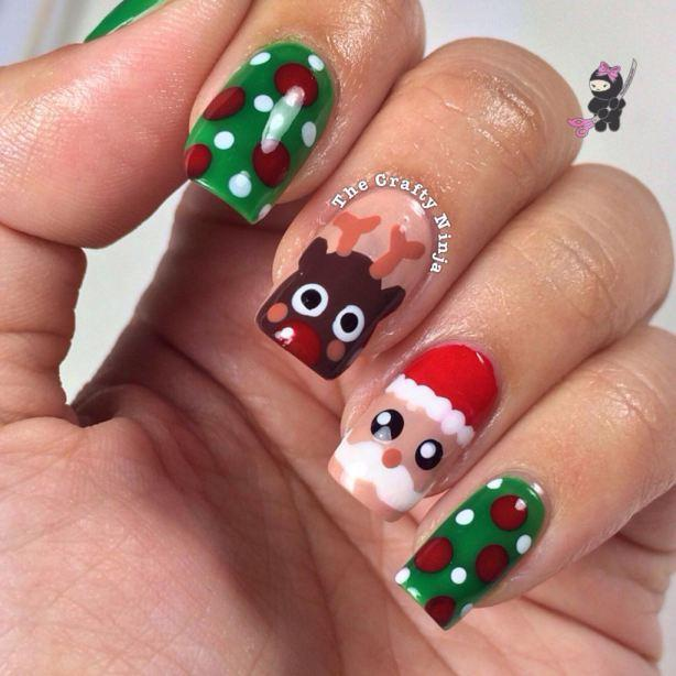 16 santa and rudolph reindeer nails
