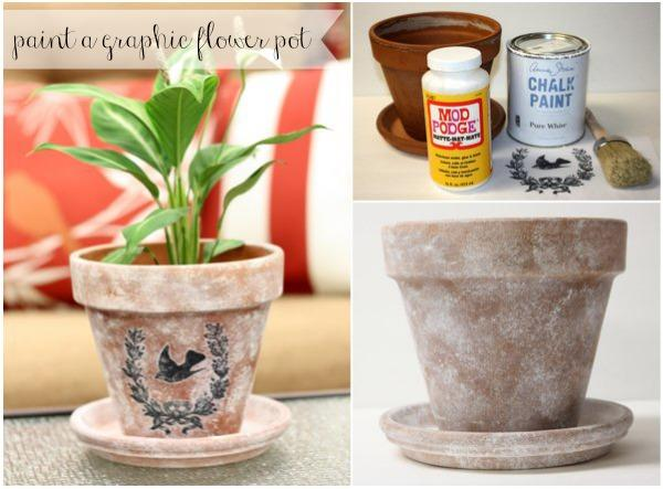 Graphic Stenciled Flower Pot