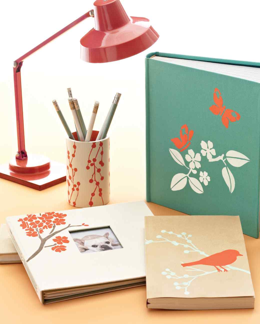 Stenciled Home Office Supplies
