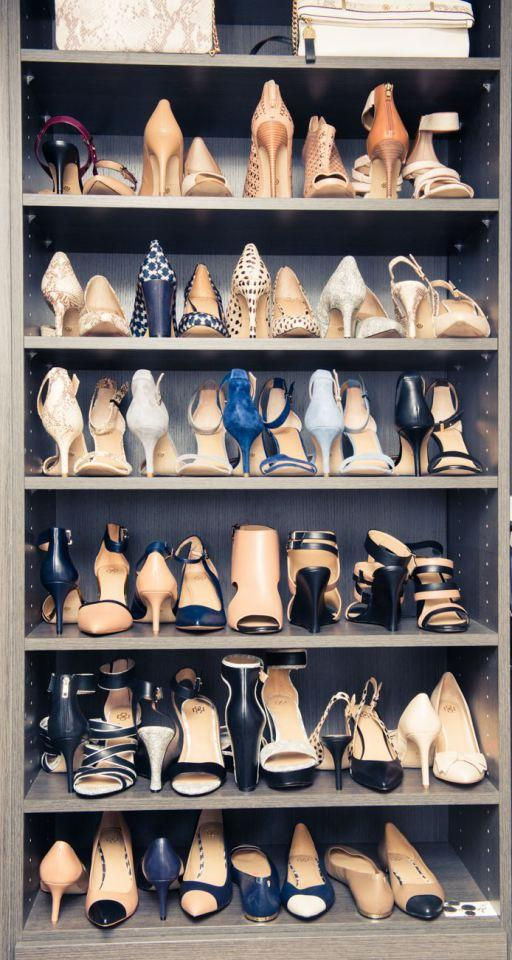 Alternate the direction of each shoe within a pair to increase the number you can fit on a shelf
