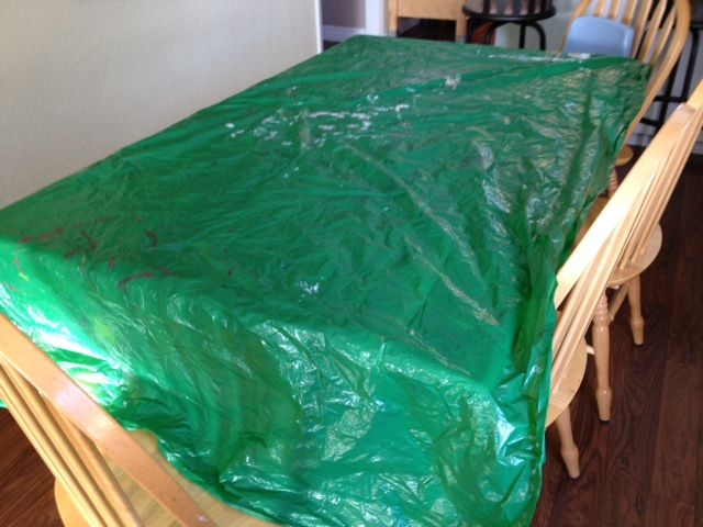 Use Dollar Store Plastic Tablecloths During Craft Time