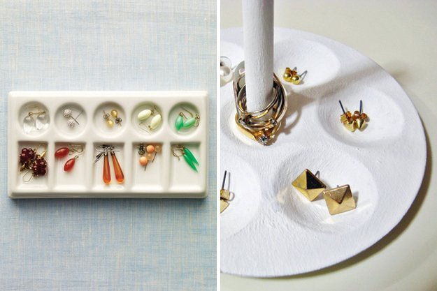 Paint Palette as Jewelry Organizer