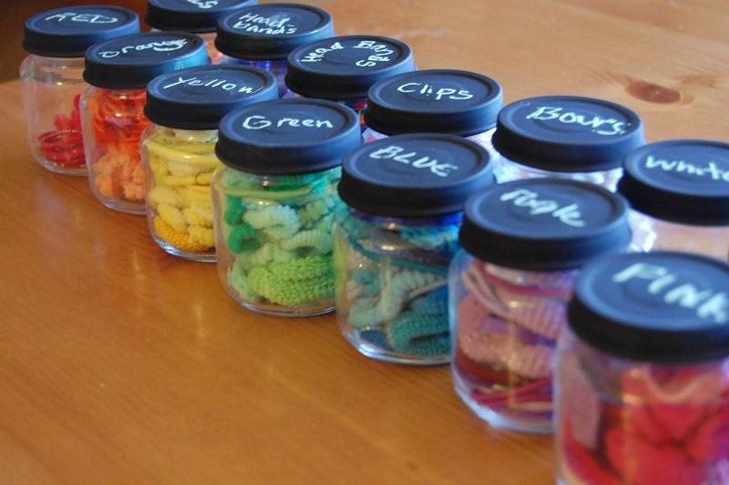 Organizing with baby food jars