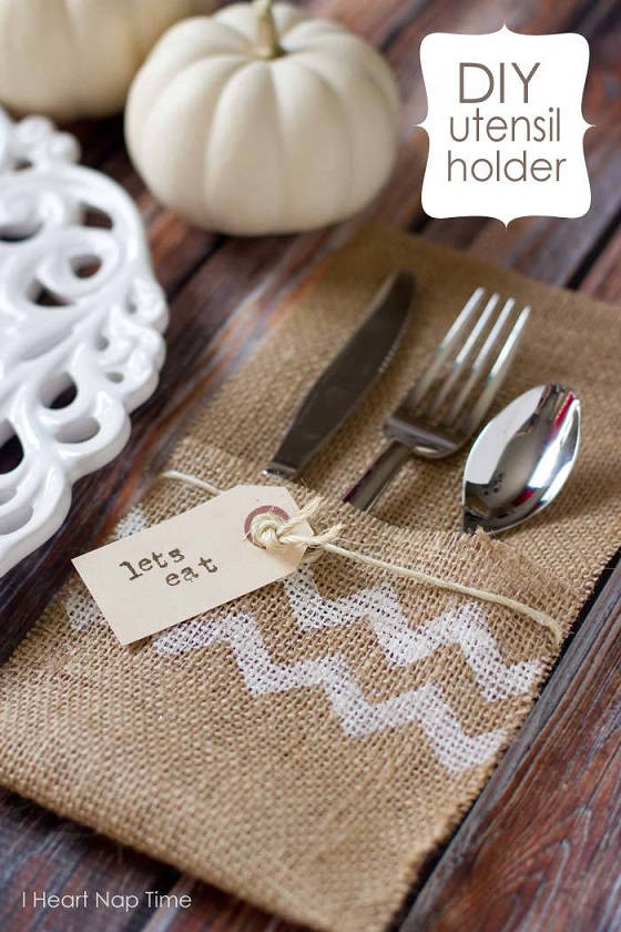 Burlap Utensil Holders