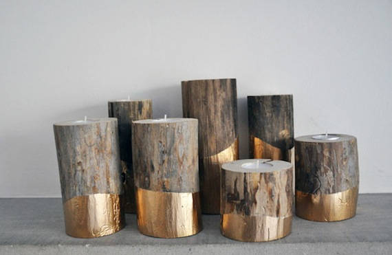 Gold Dipped Log Candle Holders