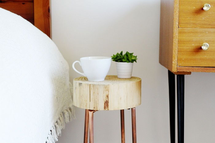 Copper Pipe and Wood Slice Side Table