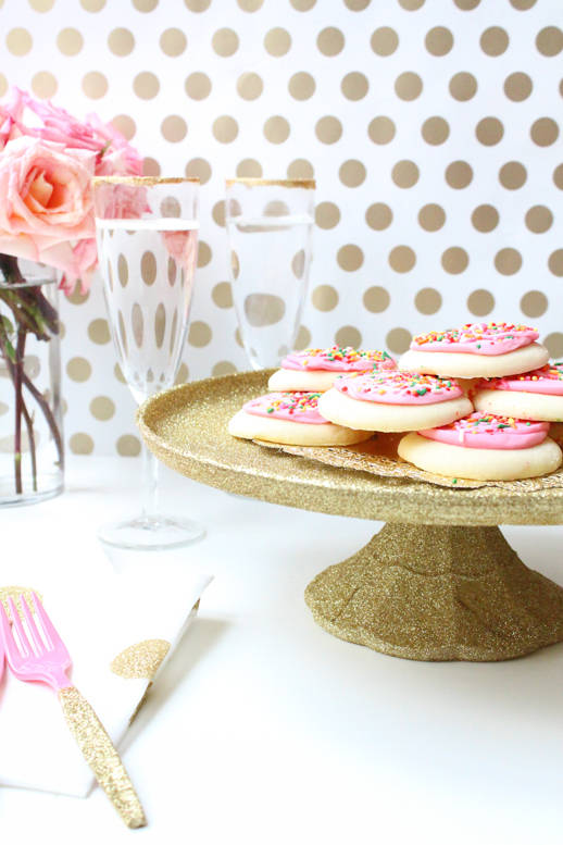 Glittered Decoupage Cake Stand