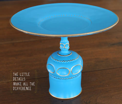 Painted Glassware Cake Stand