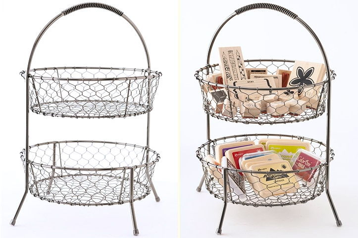 Use Tiered Wire Basket as Stamp Storage