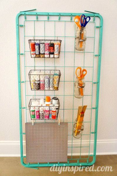 Repurposed Bed Spring Craft Storage