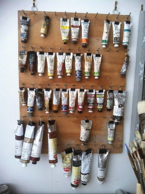 Hang Up Paint Tubes Using Binder Clips