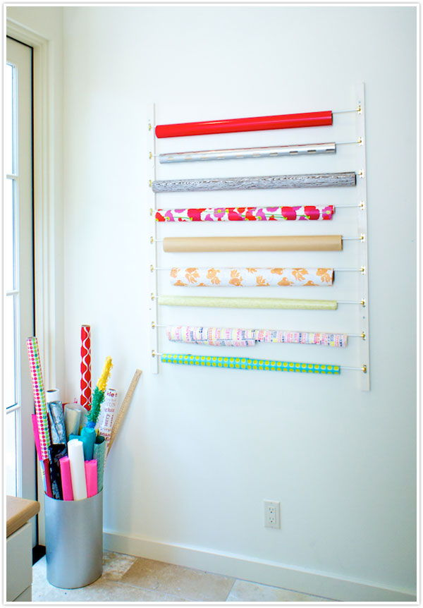 Wall-Mounted Wrapping Paper Organizer