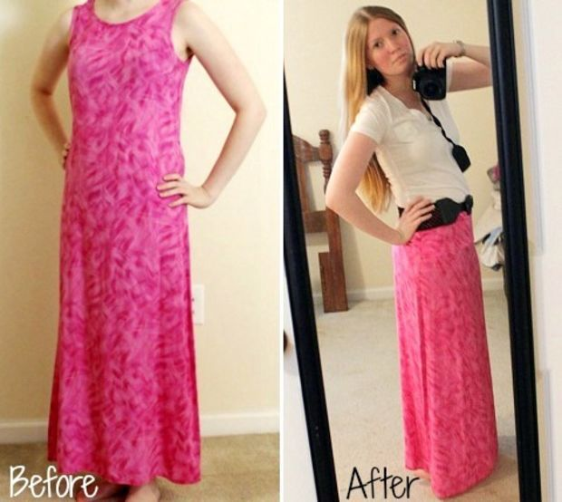Turn an Old Dress into a Maxi Skirt