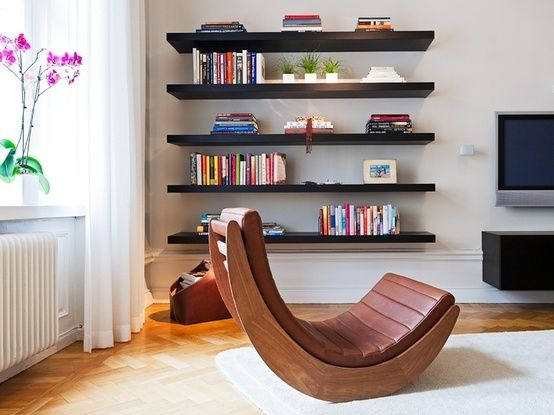 Dark Shelves with Natural Woods