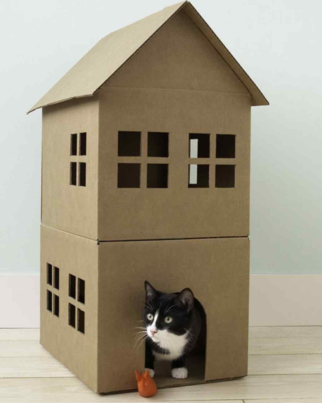Cardboard Cat Playhouse