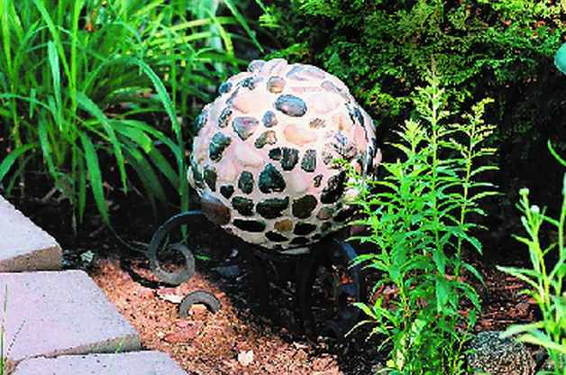 River Rock Bowling Ball Garden Art