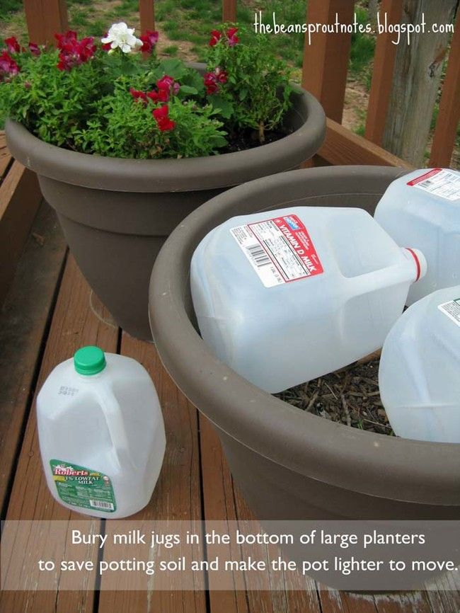 Save Potting Soil and Make the Pot Easier to Move