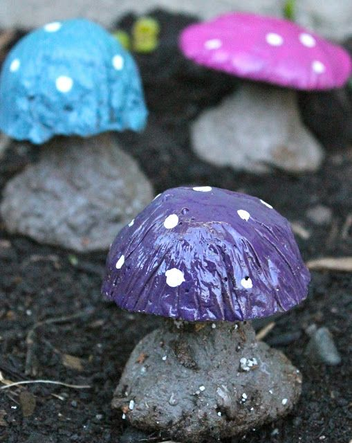 Decorate with Concrete Mushrooms
