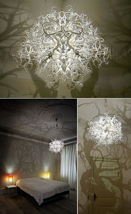 30 creative diy lamps and chandeliers you can make using everyday 6 chandelier turns a room into a forest aloadofball Images