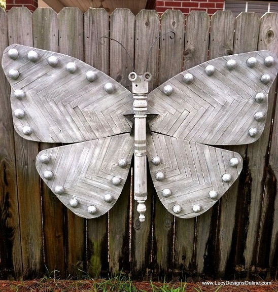 Recycled Mixed Media Butterfly Art Using Wood Shims