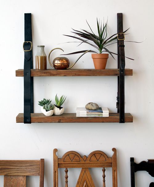 Recycled Leather and Wood Shelf