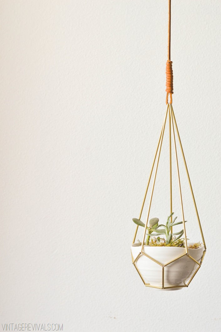 Leather and Brass Teardrop Hanging Planter