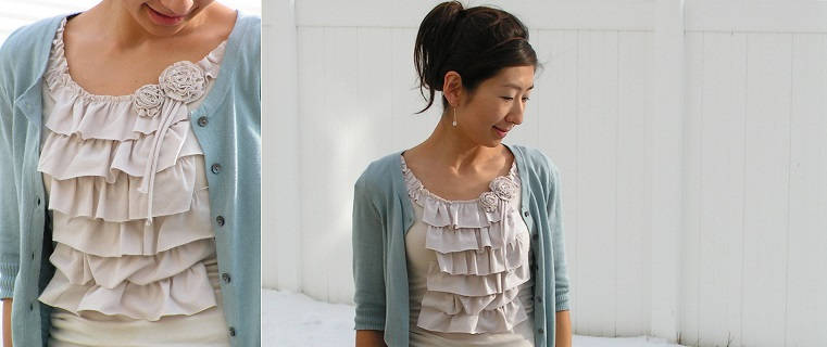 Ruffle Shirt with Flower