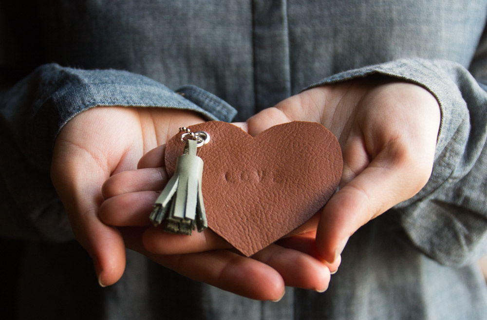 Leather Heart Keychains