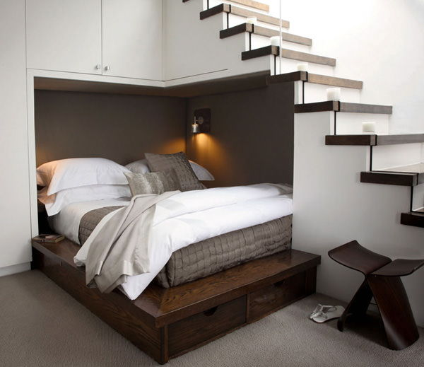 Bed Tucked Under the Stairway