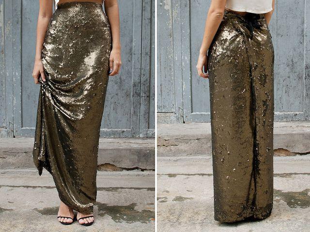 Sequin Maxi Wrap Skirt