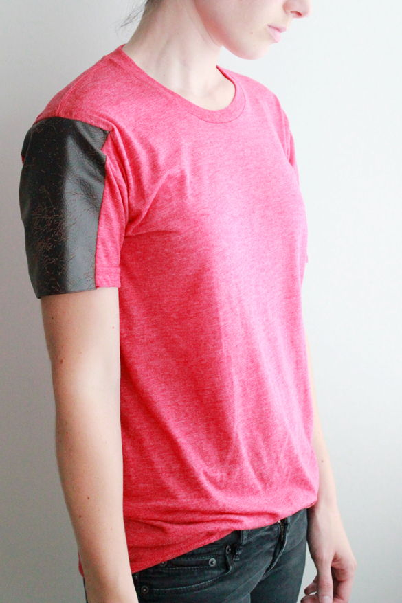 Leather Sleeve Shirt