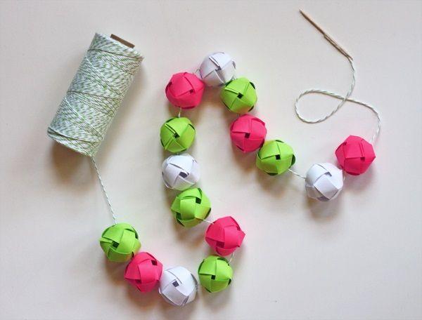 Woven Paper Balls Garland