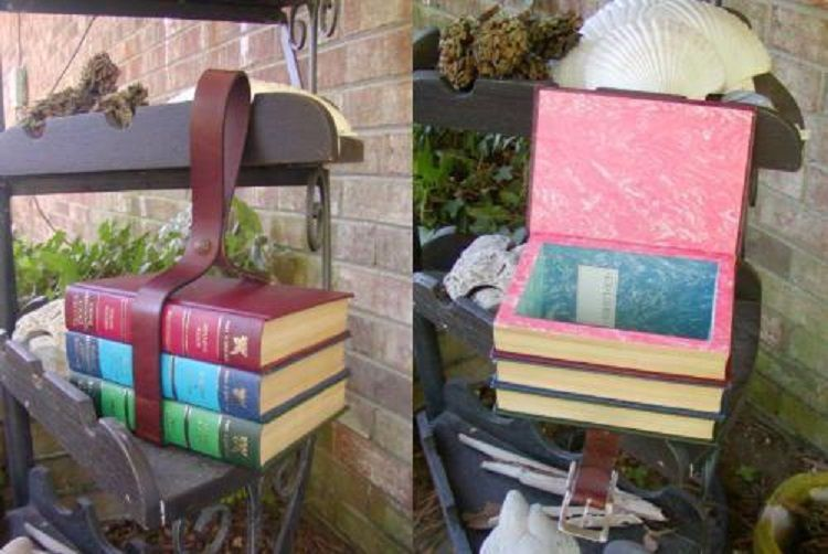 Make a purse out of a stack of old books