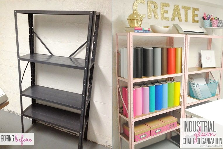 Craft Room Shelving Makeover