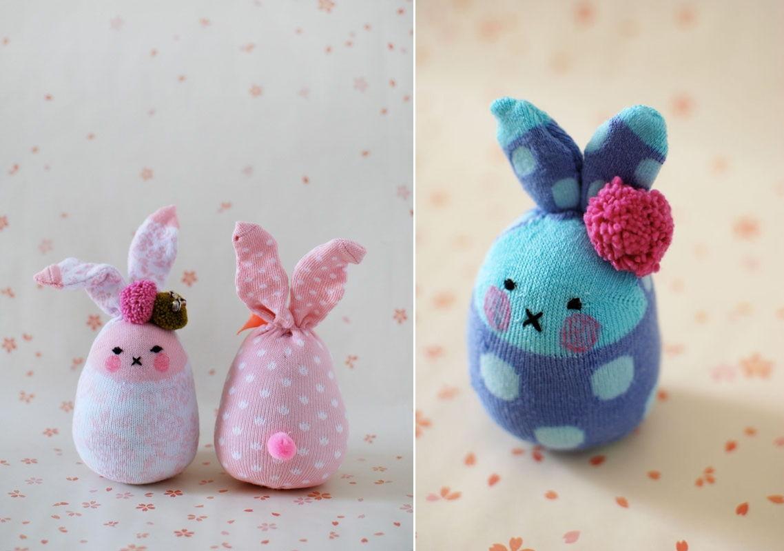 3 Bunny Softies From Socks