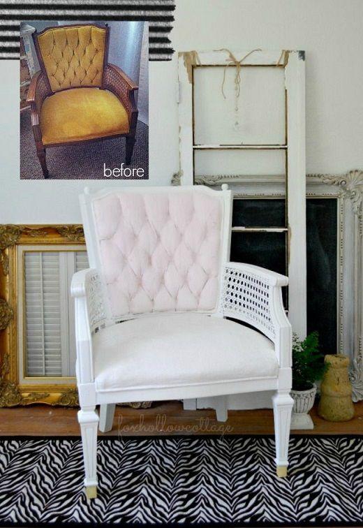 Velvet Upholstery Painted Chair Makeover