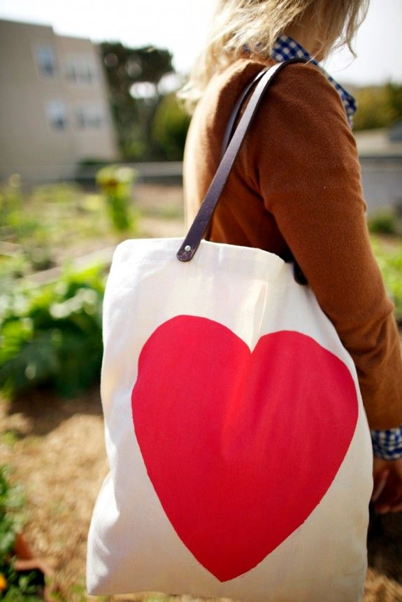 Heart Tote with Leather Straps