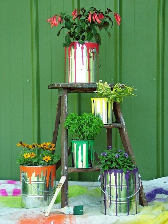 Old Paint Can Planters